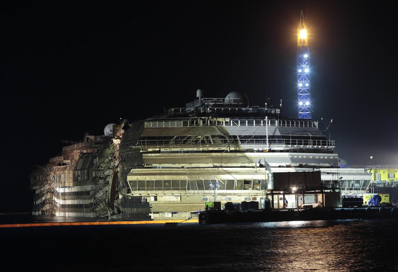 "The capsized cruise liner Costa Concordia is seen at the end of the ""parbuckling"" operation outside Giglio harbour September 17, 2013. Salvage crews completed raising the wreck of the Costa Concordia in the early hours of Tuesday morning after a 19-hour-long operation on the Italian island of Giglio where the huge cruise liner capsized in January last year. REUTERS/Tony Gentile (ITALY - Tags: DISASTER MARITIME TPX IMAGES OF THE DAY)"