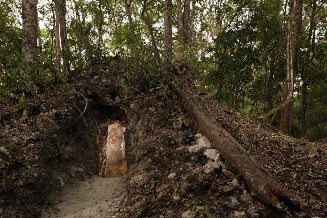This undated photo made available by National Geographic shows the painted figure of a man through the doorway of an ancient dwelling in the Maya city Zultun in northeastern Guatemala. Archaeologists have found the small room where royal scribes apparently used walls like a blackboard to keep track of astronomical records and the society's intricate calendar some 1,200 years ago. Anthony Aveni of Colgate University, along with William Saturno of Boston University and others, are reporting the discovery in the Friday, May 11, 2012 issue of the journal Science. (AP Photo/National Geographic, Tyrone Turner)