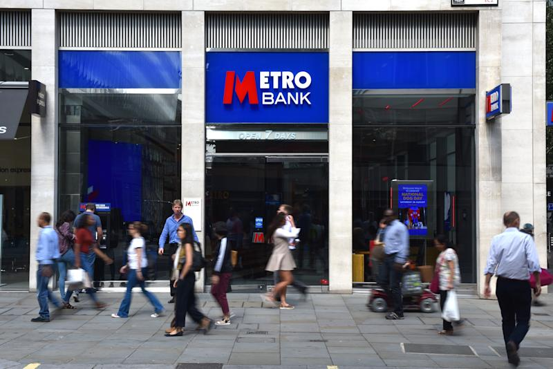 LONDON, ENGLAND - AUGUST 25: A general view of a Metro Bank branch on Cheapside on August 25, 2017 in London, England. (Photo by John Keeble/Getty Images)