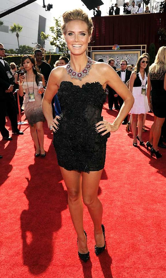 Heidi Klum<br> Grade: A<br><br> The 37-year-old mother of four strutted her stuff in a Marchesa micro mini, spiked Christian Louboutins, and a Lorraine Schwartz ruby and diamond necklace. While she looked incredible, we can't imagine this barely-there dress was very easy to sit through an awards ceremony in.