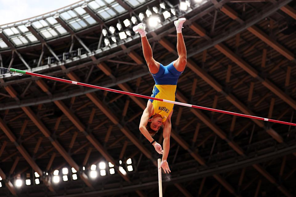 TOKYO, JAPAN - JULY 31: Armand Duplantis of Team Sweden competes in the Men's Pole Vault Qualification on day eight of the Tokyo 2020 Olympic Games at Olympic Stadium on July 31, 2021 in Tokyo, Japan. (Photo by Patrick Smith/Getty Images)