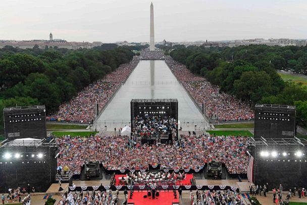 PHOTO: President Donald Trump speaks during the 'Salute to America' Fourth of July event at the Lincoln Memorial in Washington, July 4, 2019. (Susan Walsh/AFP/Getty Images)