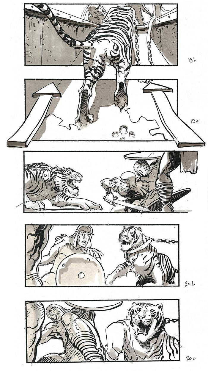 """Sylvain Despretz's new book includes drawings from """"Gladiator"""" of the slaves' POV on their journey into Rome (below left) and the tiger sequence in the Colosseum. - Credit: Courtesy of DreamWorks Pictures"""