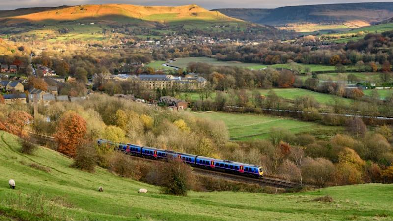 Train travelling through countryside