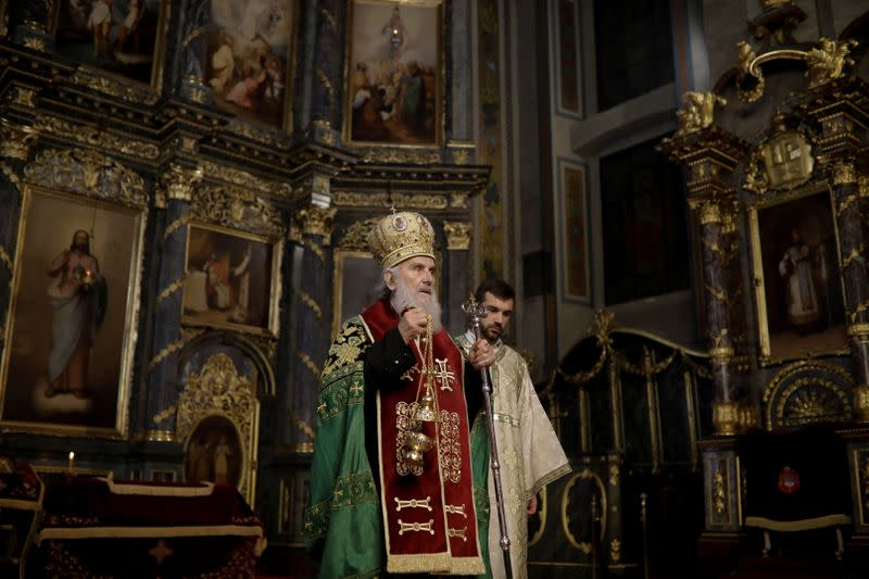 FILE PHOTO: Serbian Patriarch Irinej conducts the Orthodox Easter service in the Saborna church in central Belgrade Serbia
