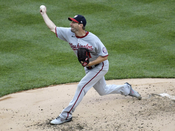 Washington Nationals starting pitcher Max Scherzer throws during the third inning of a baseball game against the New York Yankees, Saturday, May 8, 2021, at Yankee Stadium in New York. (AP Photo/Bill Kostroun)