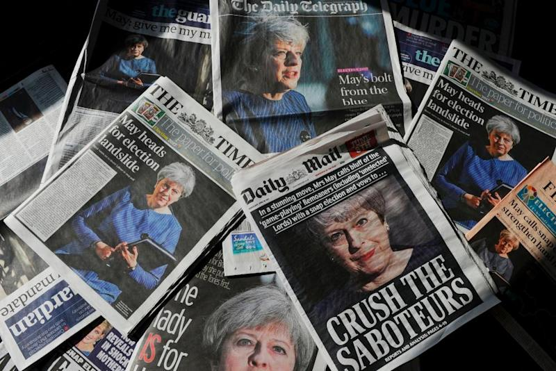Front pages of the Daily Mail, Times, Telegraph etc