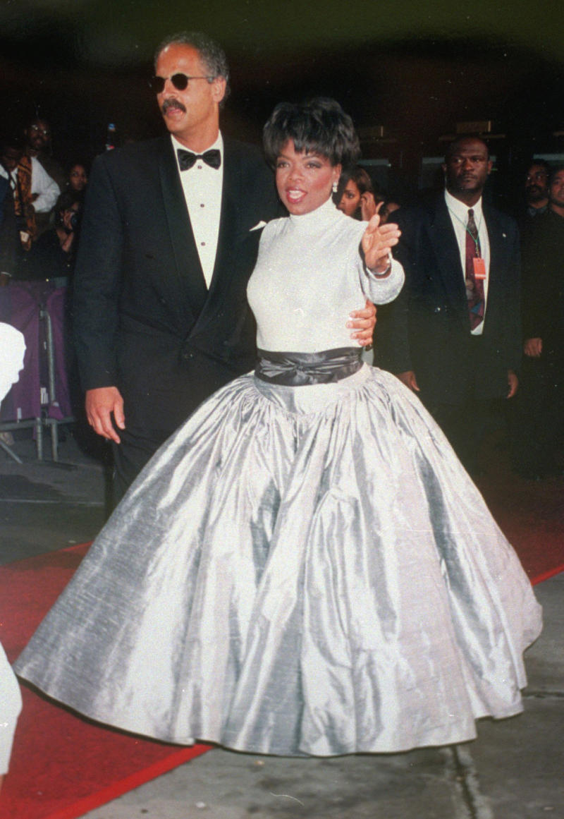 **FILE** A May 12, 1995 file photo shows talk show host Oprah Winfrey and her partner, Stedman Graham, arriving at the 1995 Essence Awards in New York. (AP Photo/Clark Jones, File)