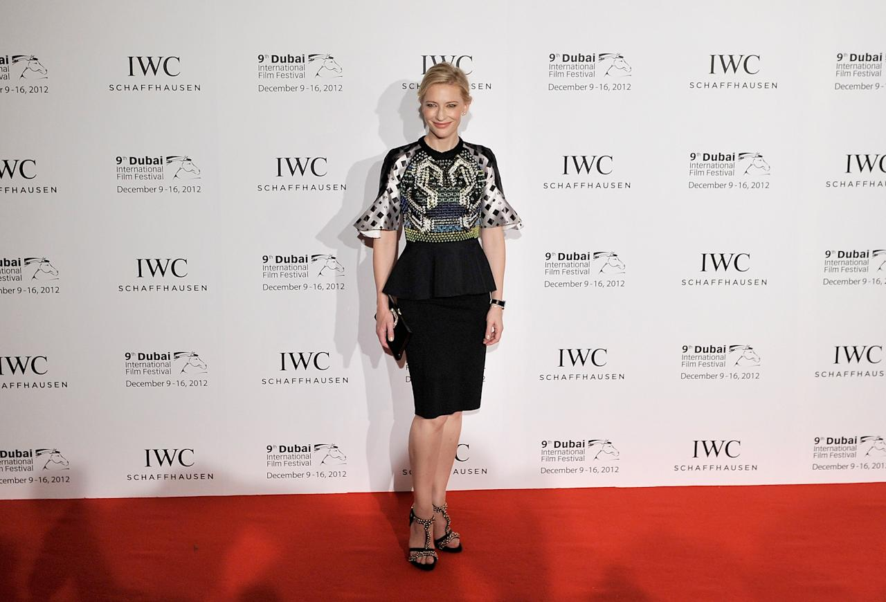 DUBAI, UNITED ARAB EMIRATES - DECEMBER 10:  Actress Cate Blanchett attends the Dubai International Film Festival and IWC Schaffhausen Filmmaker Award Gala Dinner and Ceremony at the One and Only Mirage Hotel on December 10, 2012 in Dubai, United Arab Emirates.  (Photo by Gareth Cattermole/Getty Images for DIFF)