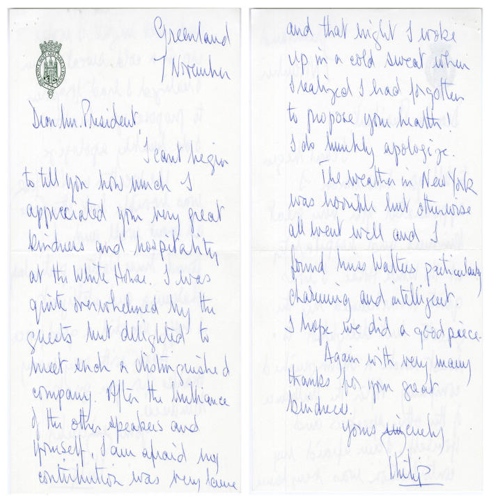 In this image provided by The Richard Nixon Library & Museum, shows two sides of a letter that Prince Philip wrote to President Richard Nixon. / Credit: The Richard Nixon Library & Museum via AP