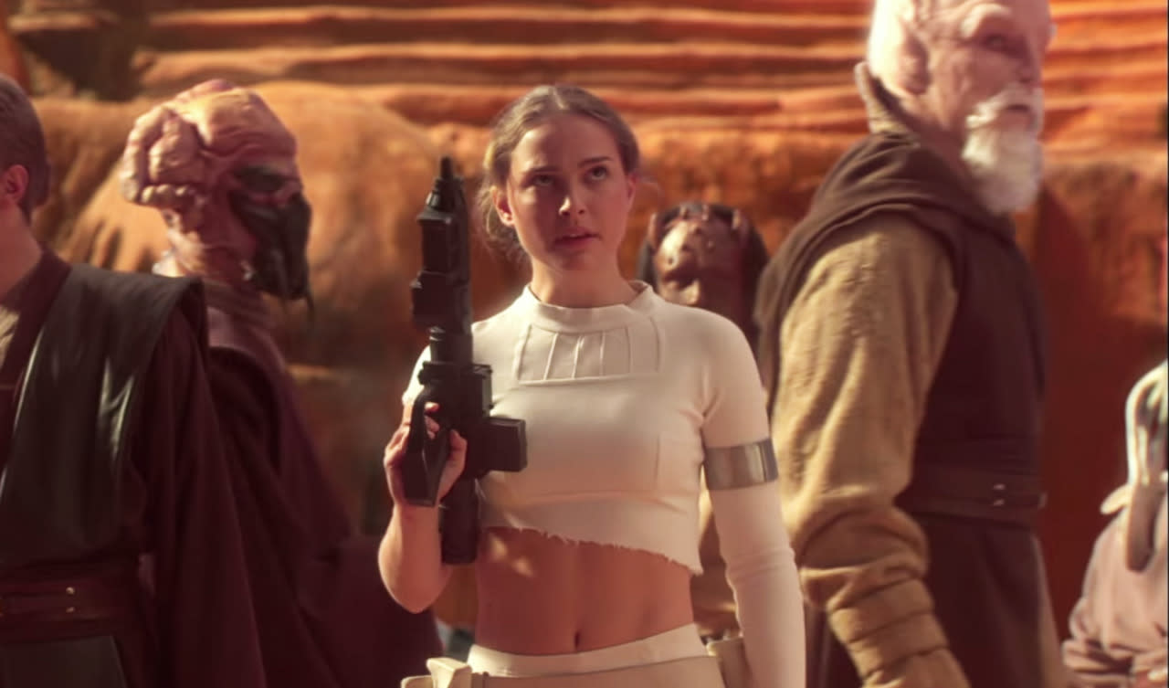 <p>It's one of the most cynical moments in the whole prequel trilogy – and that's saying something from a franchise basically created to flog soft toys. While Padme and the Jedi are captured by Dooku and forced to fight giant beasts in a Colosseum-type environment, one of the creatures slashes Portman's shirt half-off, leaving her a nice bare midriff. For the freedom fighter who wants to look sexy while she liberates.</p>