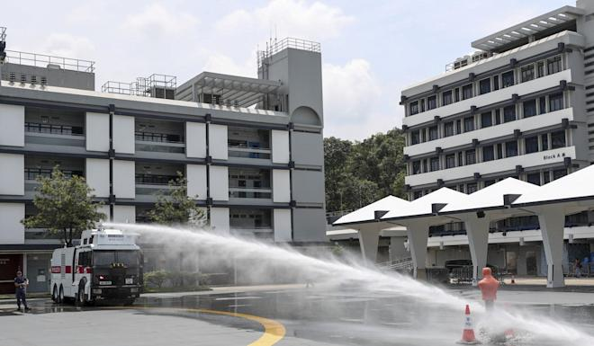 Police demonstrate a water cannon at the Police Tactical Unit compound in Fanling on Monday. Photo: Sam Tsang