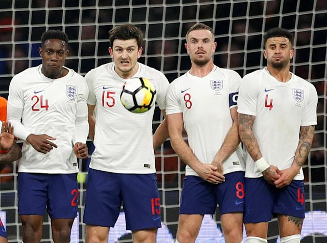 Soccer Football - International Friendly - Netherlands vs England - Johan Cruijff Arena, Amsterdam, Netherlands - March 23, 2018 England's Danny Welbeck, Harry Maguire, Jordan Henderson and Kyle Walker in a wall against a freekick from Netherlands' Memphis Depay Action Images via Reuters/John Sibley TPX IMAGES OF THE DAY
