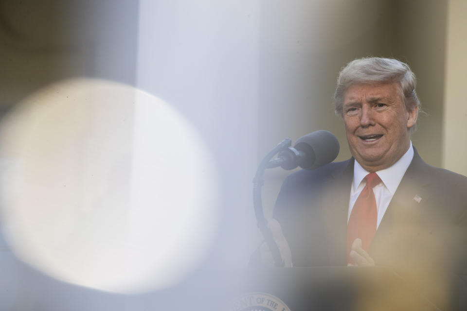 President Donald Trump speaks about the coronavirus in the Rose Garden of the White House, Monday, March 30, 2020, in Washington. (AP Photo/Alex Brandon)
