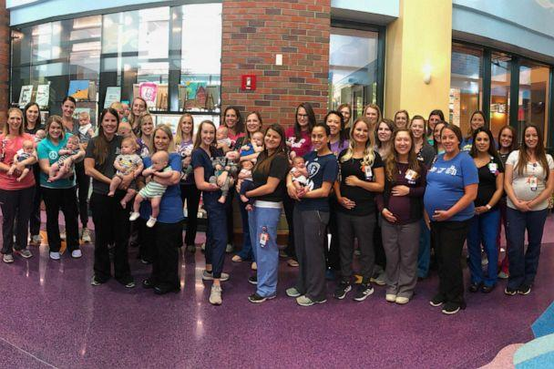 PHOTO: 20 babies have been born to the 36 nurses who were expecting at Children's Mercy Kansas City's NICU. (Courtesy Allison Ronco)