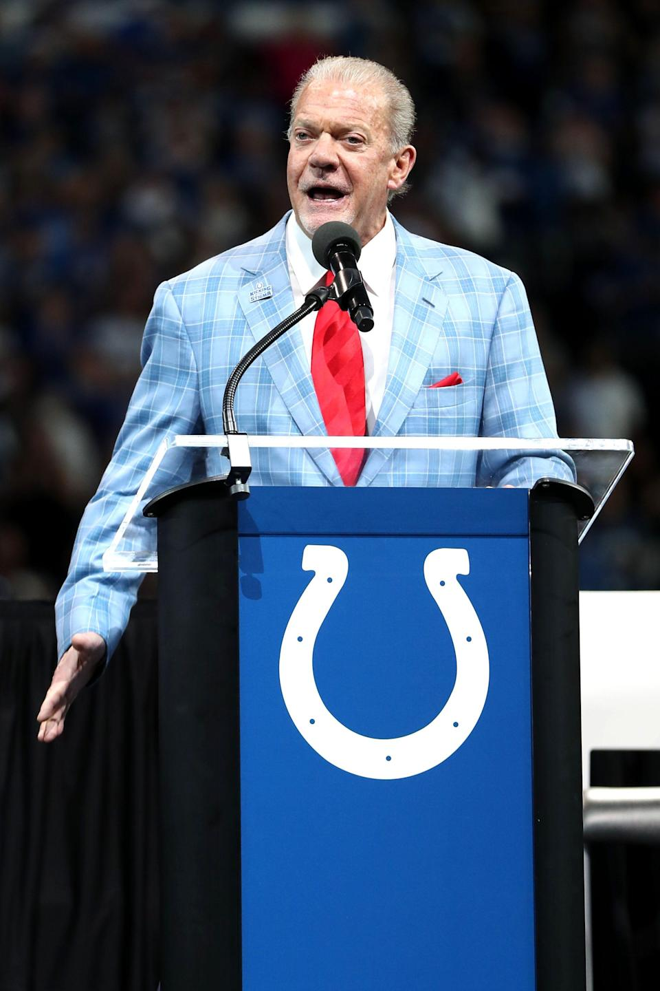 Jim Irsay speaks as Peyton Manning and Edgerrin James receive their hall of fame rings Sunday, Sept. 19, 2021, during halftime of a game against the Los Angeles Rams at Lucas Oil Stadium in Indianapolis.