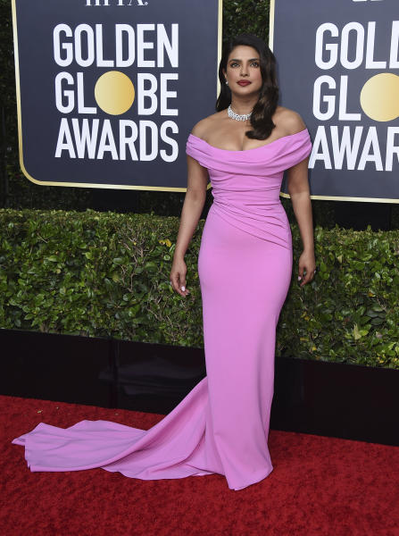 Priyanka Chopra arrives at the 77th annual Golden Globe Awards at the Beverly Hilton Hotel on Sunday, Jan. 5, 2020, in Beverly Hills, Calif. (Photo by Jordan Strauss/Invision/AP)