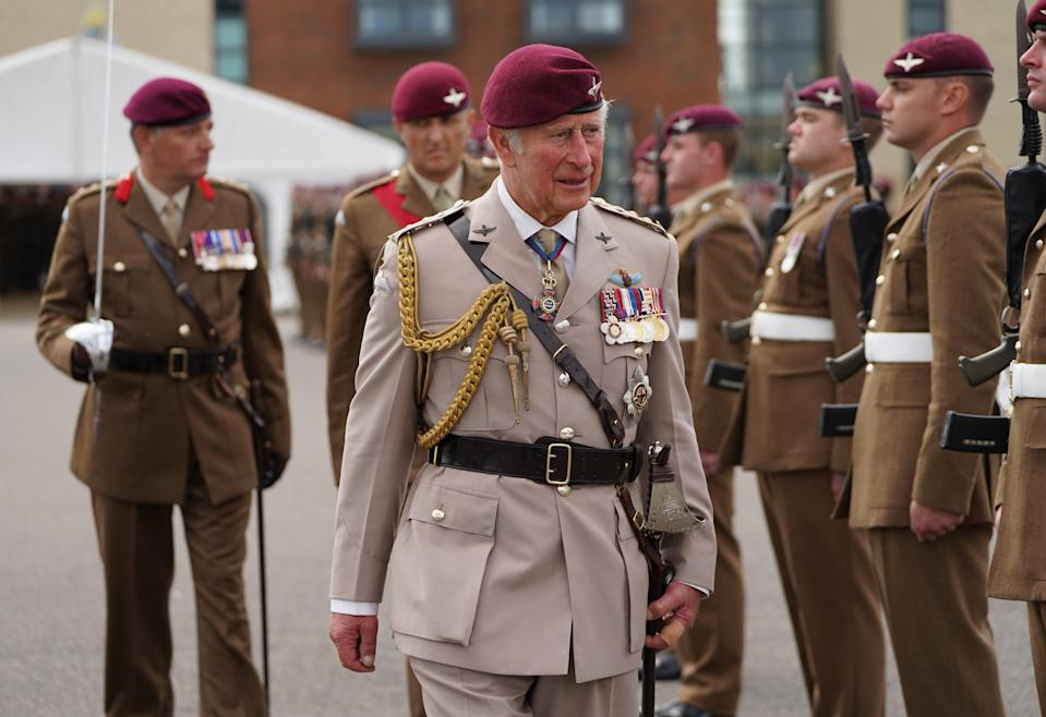 The Prince of Wales at the ceremony at Merville Barracks in Colchester (Kirsty O'Connor/PA) (PA Wire)