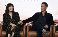 """Rob Lowe, right, and Liv Tyler, cast members in the upcoming television series """"9-1-1: Lone Star,"""" share a laugh during the 2020 FOX Television Critics Association Winter Press Tour, Tuesday, Jan. 7, 2020, in Pasadena, Calif. (AP Photo/Chris Pizzello)"""