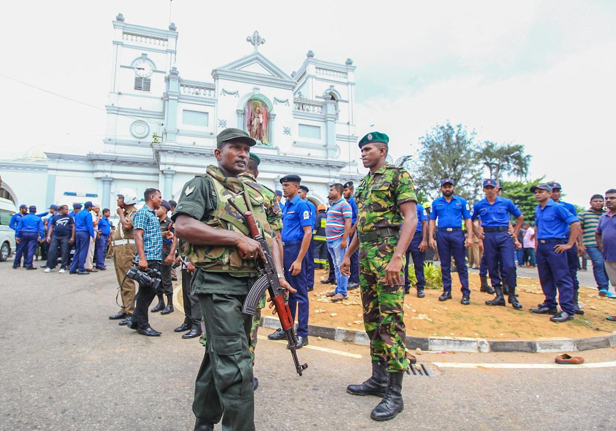 COLOMBO, SRI LANKA – APRIL 21: Security forces secure the area around the St. Anthony's Shrine after an explosion hit St Anthony's Church in Kochchikade in Colombo, Sri Lanka on April 21, 2019. (Photo by Chamila Karunarathne/Anadolu Agency/Getty Images)