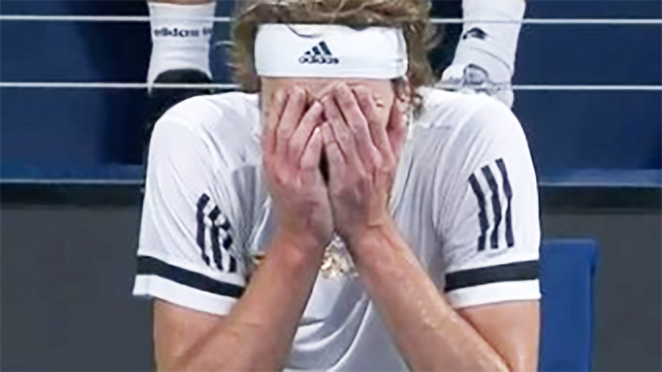 Alexander Zverev, pictured here in full meltdown mode at the ATP Cup.