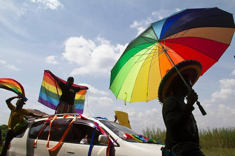 A gay pride rally in Entebbe on August 9, 2014, the first following the overturning of a tough anti-homosexuality law (AFP Photo/Isaac Kasamani)