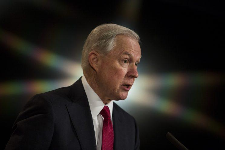 Sessions delivers remarks at the Justice Department last month. (Photo: Zach Gibson/Getty Images)
