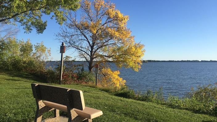 A bench near to Storm Lake,Iowa ,USA on October 2,2017 - Image.
