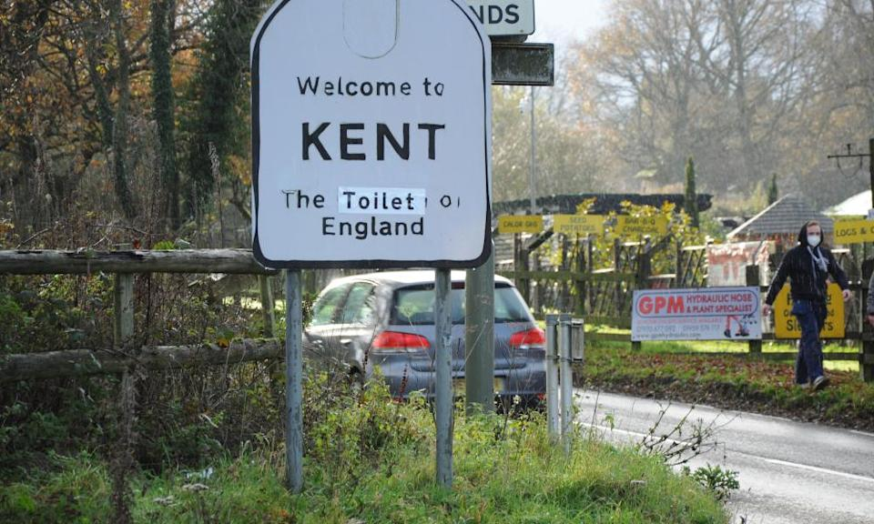 Protesters defaced the Kent roadside signs overnight.