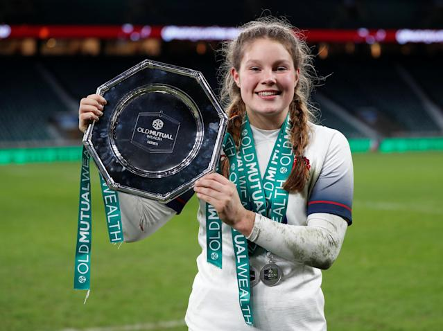 Rugby Union - Women's International - England vs Canada - Twickenham Stadium, London, Britain - November 25, 2017 England's Jess Breach with the trophy at the end of the match Action Images via Reuters/Paul Childs