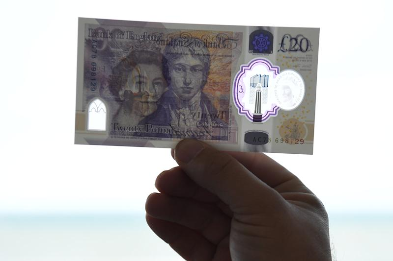 MARGATE, ENGLAND - OCTOBER 10: A detail view of some of the artwork detailing on a large scale sample of the new twenty pound note during the launch event at the Turner Contemporary gallery on October 10, 2019 in Margate, England. The new twenty pound note will be made of polymer rather than paper, also the current portrait of scottish economist Adam Smith on the obverse, will be replaced with one of english artist J.M.W Turner. The new note will start to enter circulation in 2020 as the older note is gradually phased out. (Photo by Leon Neal - WPA Pool/Getty Images)