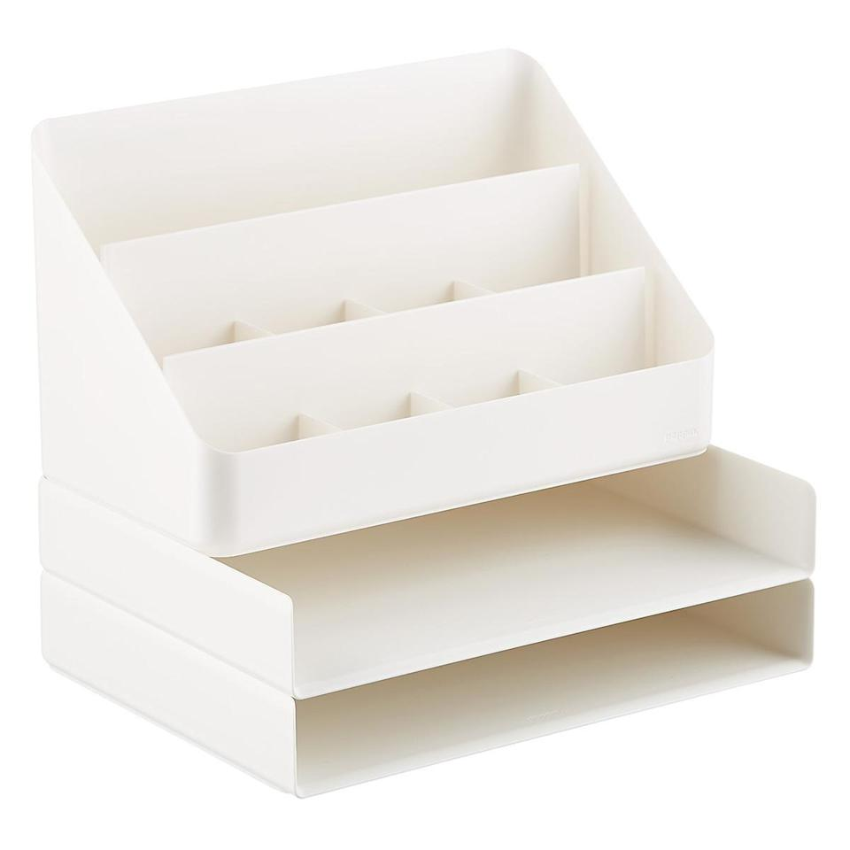 "<h2>Poppin All-in-One Desktop Organizer</h2><br>If you've got stacks on stacks of paperwork and an impressive pen inventory, check out this five-story desktop organizer. It's also great for holding tablets, phones, and other tech accessories.<br><br><em>Shop</em> <strong><em><a href=""https://www.containerstore.com/s/office/poppin/12"" rel=""nofollow noopener"" target=""_blank"" data-ylk=""slk:Poppin"" class=""link rapid-noclick-resp"">Poppin</a></em></strong><br><br><strong>Poppin</strong> All-in-One Desktop Organizer, $, available at <a href=""https://go.skimresources.com/?id=30283X879131&url=https%3A%2F%2Fwww.containerstore.com%2Fs%2Foffice%2Fpoppin%2Fwhite-poppin-all_in_one-desktop-organizer%2F12d%3FproductId%3D11008028"" rel=""nofollow noopener"" target=""_blank"" data-ylk=""slk:The Container Store"" class=""link rapid-noclick-resp"">The Container Store</a>"