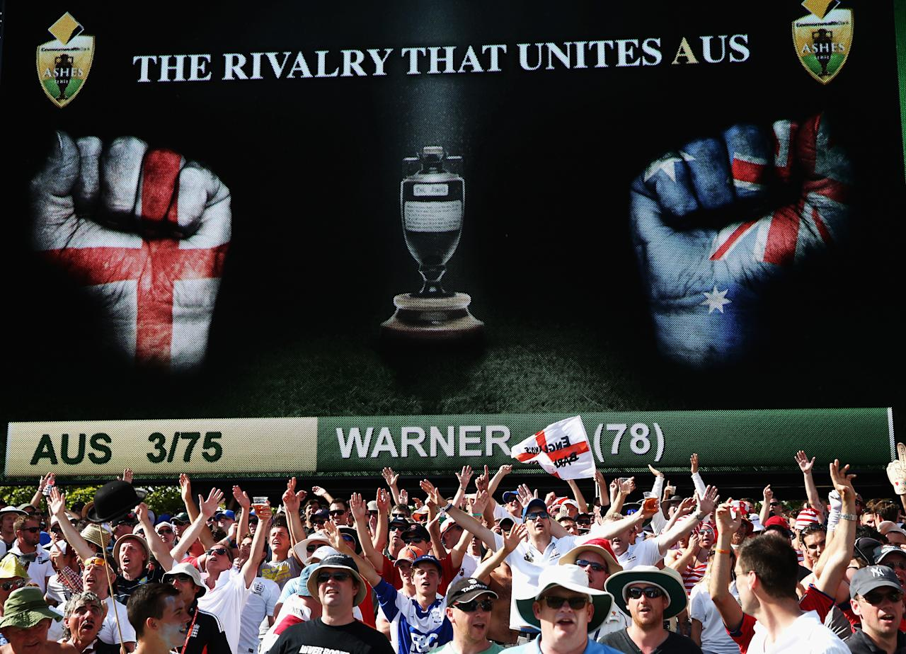ADELAIDE, AUSTRALIA - DECEMBER 07:  The Barmy Army cheer during day three of the Second Ashes Test match between Australia and England at Adelaide Oval on December 7, 2013 in Adelaide, Australia.  (Photo by Ryan Pierse/Getty Images)