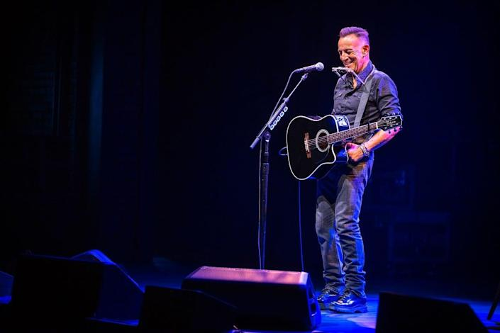 Bruce Springsteen onstage June 26, 2021 at the St. James Theatre for 'Springsteen on Broadway.'