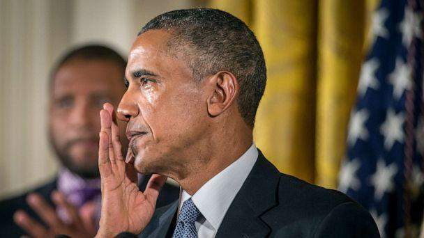 PHOTO: President Barack Obama wipes away tears as he talks about needless shootings at Sandy Hook Elementary school during a press briefing in the East Room of the White House, Jan. 5, 2015, in Washington D.C. (Ken Cedeno/Corbis via Getty Images, FILE)