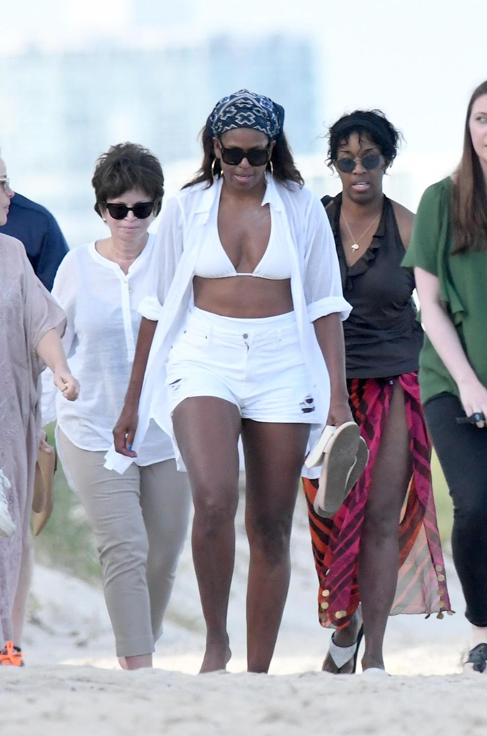 Michelle Obama is kicking back in Miami. (Photo: Splash News)