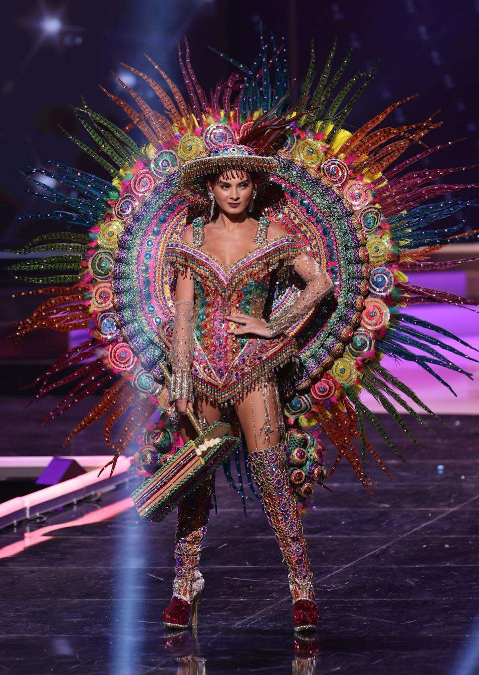 <p>Miss Nicaragua Ana Marcelo appears onstage at the Miss Universe 2021 - National Costume Show at Seminole Hard Rock Hotel & Casino on May 13, 2021 in Hollywood, Florida. (Photo by Rodrigo Varela/Getty Images)</p>