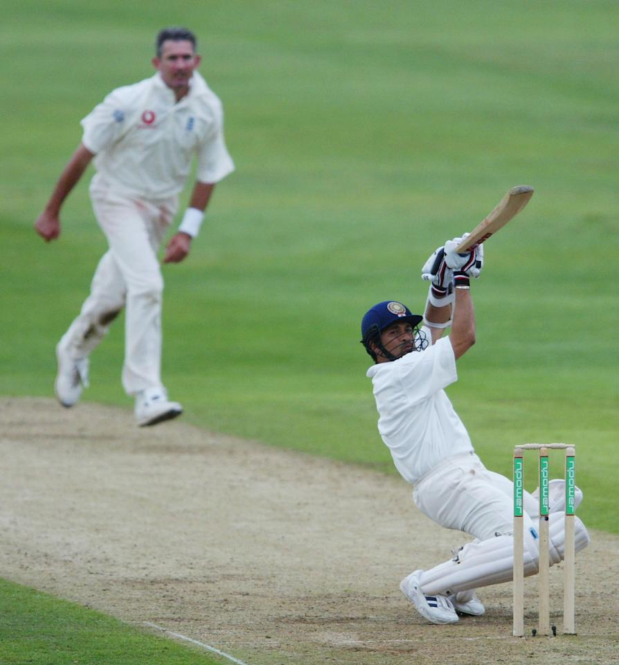 LEEDS - AUGUST 23:  Sachin Tendulka of India hits behind during the second day of the third Npower test match at Headingley in Leeds on August 23, 2002. (Photo by Laurence Griffiths/Getty Images)