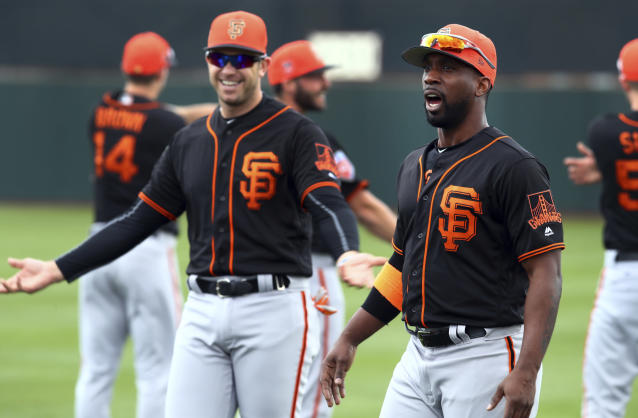 The Giants are hoping for the old Evan Longoria and Andrew McCutchen to show up this season and help turn things around. (AP)