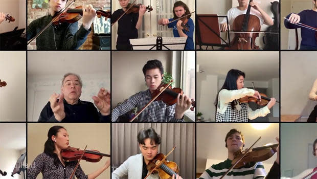 Itzhak Perlman conducts the Juilliard Orchestra in a virtual group performance of a passage from Edward Elgar's