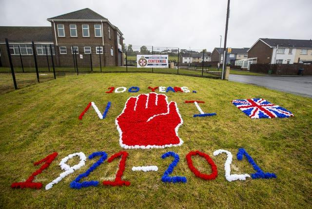A display marking the occasion in Ballyduff, Newtownabbey