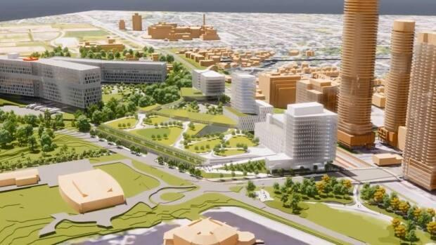 This illustration shows the future Civic Hospital site, slated to open in 2028. The Civic Hospital Neighbourhood Association is expressing concerns about parking and traffic and wants to meet with federal Infrastructure Minister Catherine McKenna. (The Ottawa Hospital - image credit)