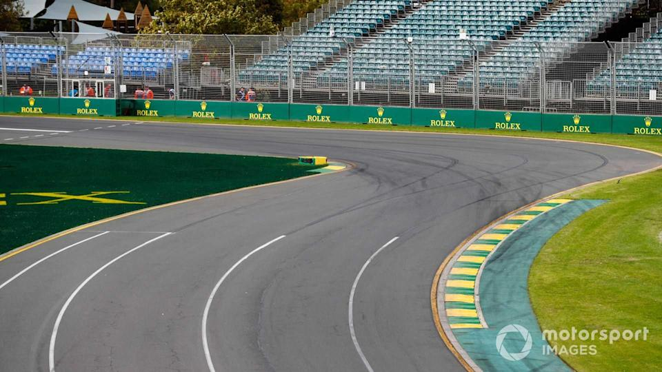 Empty track and grandstands at Australian GP 2020