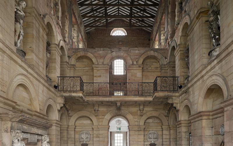 Inside the central block at Seaton Delaval Hall, Northumberland, which was gutted by fire in 1822 - National Trust Images