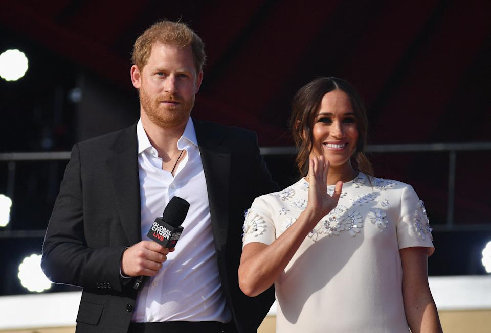 Britain's Prince Harry and Meghan Markle speak during the 2021 Global Citizen Live