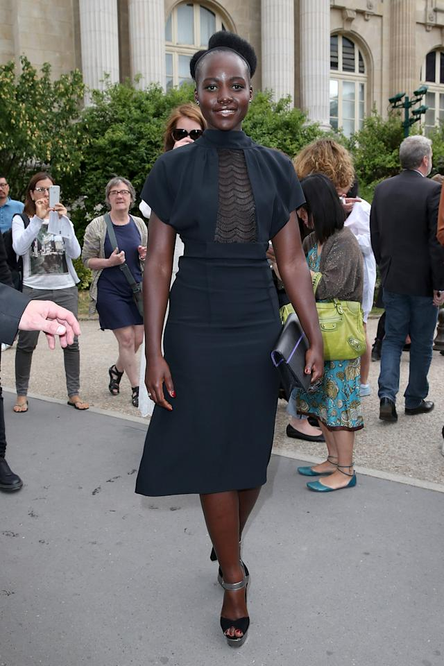 <p>The Oscar-winning actress made a stunning appearance in a black dress at John Galliano's first Parisian couture show since 2011.</p>
