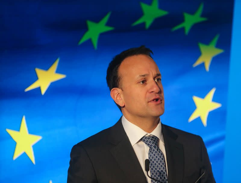 Varadkar, Irish Taoiseach (Prime Minister) and leader of the Fine Gael party speaks at the launch of his party's manifesto for the Irish General Election in Dublin