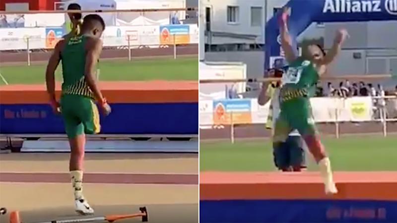 Seen here, one-legged high-jumper Obed Lekhehle competing in the 2019 World Para Athletics Junior Championships.