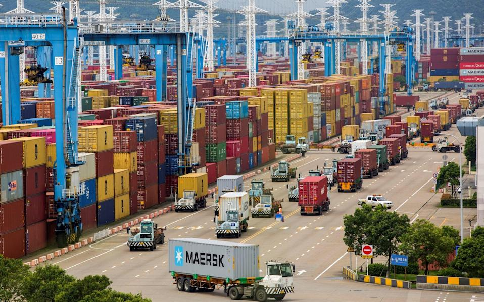 China's container terminal of Ningbo Zhoushan port in Zhejiang was partly closed in August - REUTERS