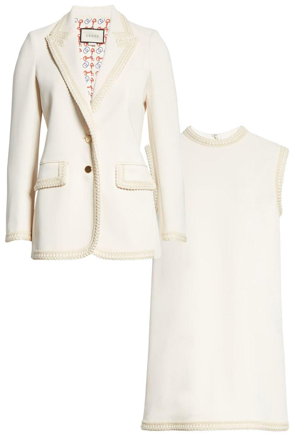 """<p>Mix things up with a coordinating trimmed blazer and dress. The cream set will look amazing with gold accessories. </p><p><a href=""""https://go.skimresources.com?id=74968X1525087&xs=1&url=https%3A%2F%2Fwww.nordstrom.com%2Fs%2Fgucci-passementerie-trim-stretch-cady-blazer%2F5453182%3Forigin%3Dcategory-personalizedsort%26breadcrumb%3DHome%252FWomen%252FClothing%252FCoats%252C%2520Jackets%2520%2526%2520Blazers%26fashioncolor%3DWhite%26color%3Dninfea%2520white%252F%2520mix"""" rel=""""nofollow noopener"""" target=""""_blank"""" data-ylk=""""slk:Gucci Blazer"""" class=""""link rapid-noclick-resp""""><br>Gucci Blazer</a><a href=""""https://go.skimresources.com?id=74968X1525087&xs=1&url=https%3A%2F%2Fwww.nordstrom.com%2Fs%2Fgucci-passementerie-trim-stretch-cady-tunic-top%2F5453177%3Forigin%3Dcategory-personalizedsort%26breadcrumb%3DHome%252FBrands%252FGucci%252FWomen%252FClothing%26color%3Dninfea%2520white"""" rel=""""nofollow noopener"""" target=""""_blank"""" data-ylk=""""slk:Gucci Dress"""" class=""""link rapid-noclick-resp""""><br>Gucci Dress</a></p>"""
